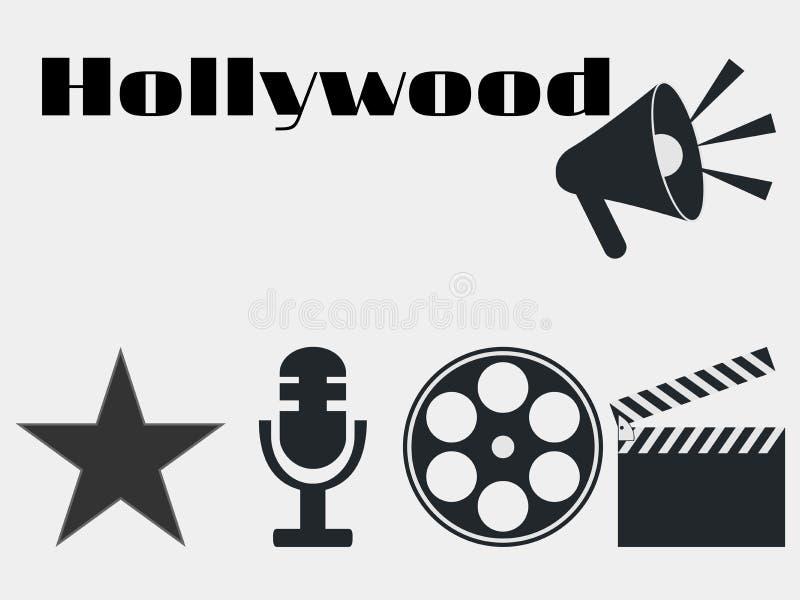 Hollywood-Filmindustrieikonen Filmscharnierventil, Mikrofon Vektor lizenzfreie abbildung