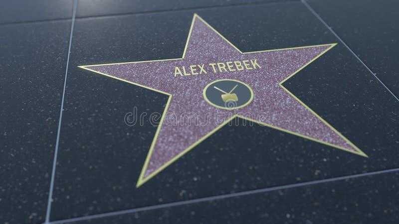 Hollywood går av berömmelsestjärnan med den ALEX TREBEK inskriften Redaktörs- tolkning 3D stock illustrationer