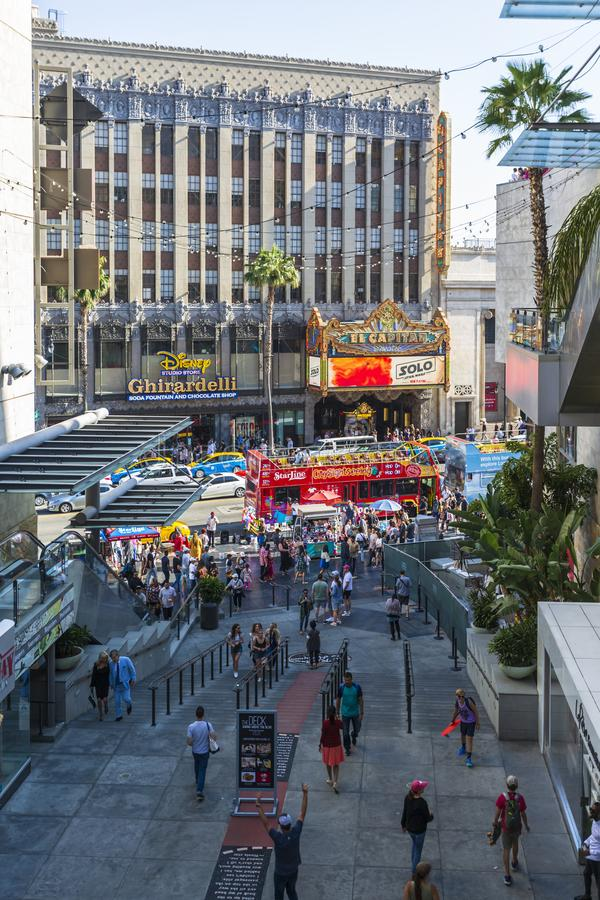 Hollywood & Highland shopping mall, Hollywood Boulevard, Hollywood, Los Angeles, California, United States of America. Hollywood, USA - May 28 2018: Hollywood royalty free stock image