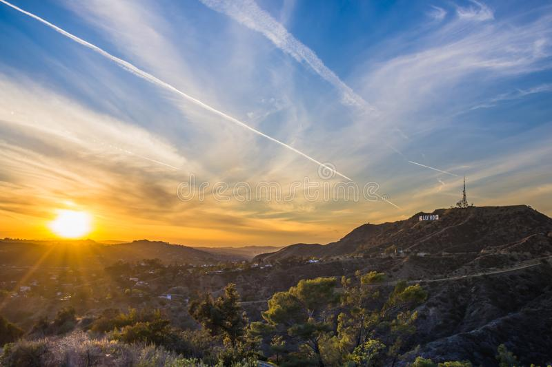 Download Hollywood Hills Sunset Los Angeles Editorial Stock Image