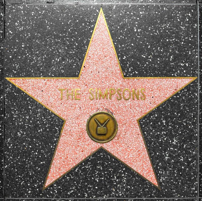 De ster Simpsons op Gang Hollywood van Bekendheid stock afbeeldingen