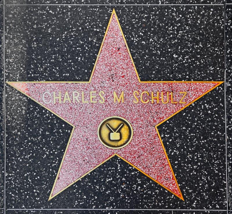 De ster van Charles m Schulz op Gang Hollywood van Bekendheid stock foto's