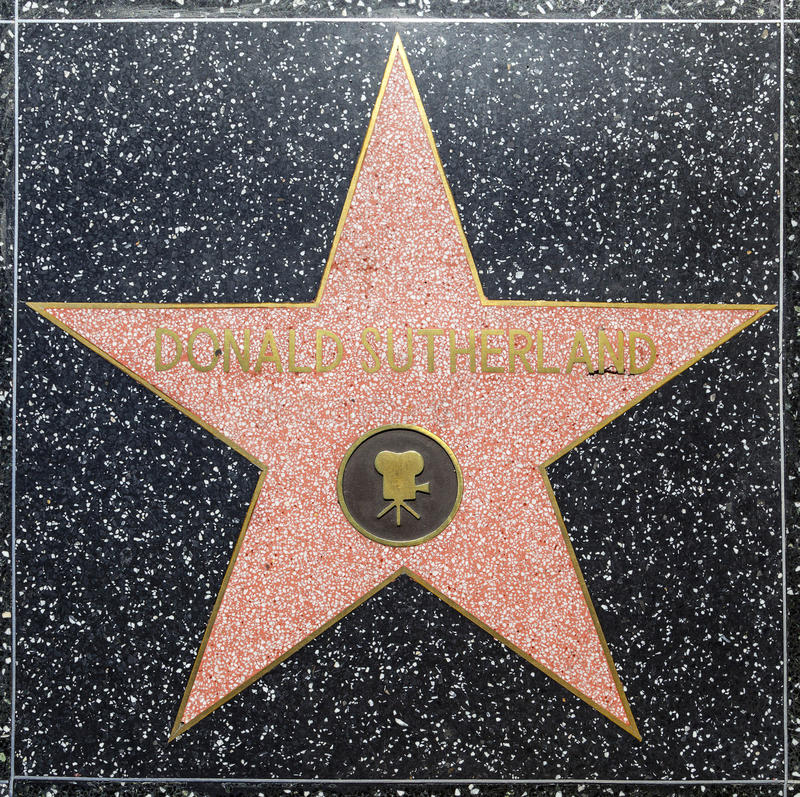 De ster van Donald Sutherlands van de acteur op Gang Hollywood van Bekendheid royalty-vrije stock afbeeldingen