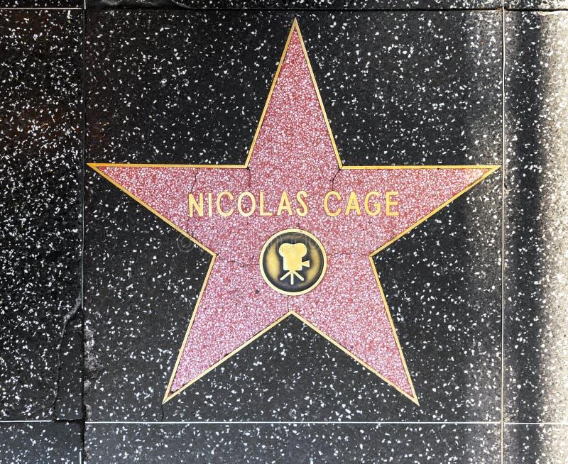 De ster van Nicolas Cage van de acteur op Gang Hollywood van Bekendheid stock afbeeldingen