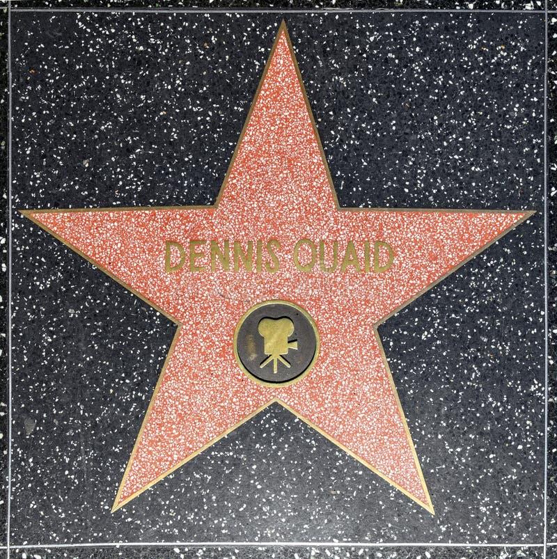 Den skådespelareDennis Quaids stjärnan på Hollywood går av berömmelse royaltyfri foto