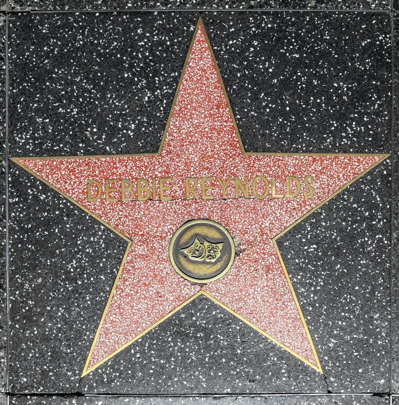 Stern SchauspielerinDebbie Reynolds auf Hollywood-Weg des Ruhmes lizenzfreie stockfotos