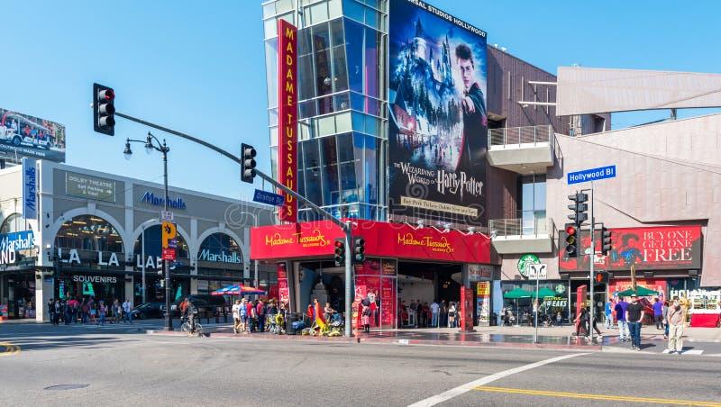 HOLLYWOOD, KALIFORNIA, usa - LUTY 6, 2018: Widok ulica w centrum miasta podczas dnia Odbitkowa przestrzeń dla teksta zdjęcia royalty free