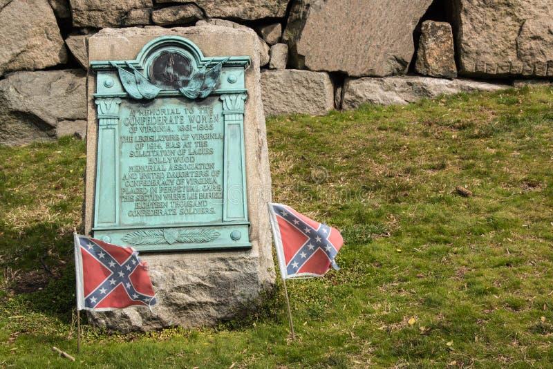 Hollywood kyrkogård Richmond Confederate Plaque royaltyfria foton