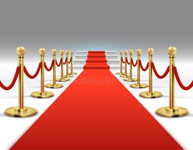 Hollywood luxury and elegant red carpet with stairs in perspective vector illustration. Red carpet and celebrity ceremony, event platform vector illustration