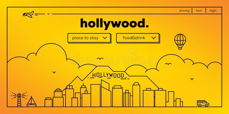 Hollywood Modern Web Banner Design with Vector Linear Skyline royalty free illustration