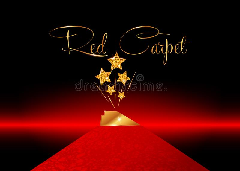 HOLLYWOOD Movie PARTY Gold STAR AWARD Statue Prize Giving Ceremony Red Carpet and Golden stars prize concept, Glittering style. HOLLYWOOD Movie PARTY Gold STAR royalty free illustration