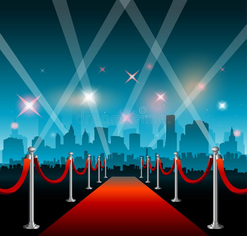 Hollywood movie red carpet background and city vector illustration