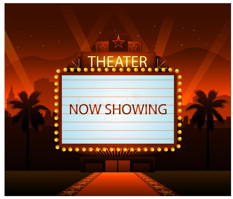 Hollywood movie red carpet background and city royalty free illustration