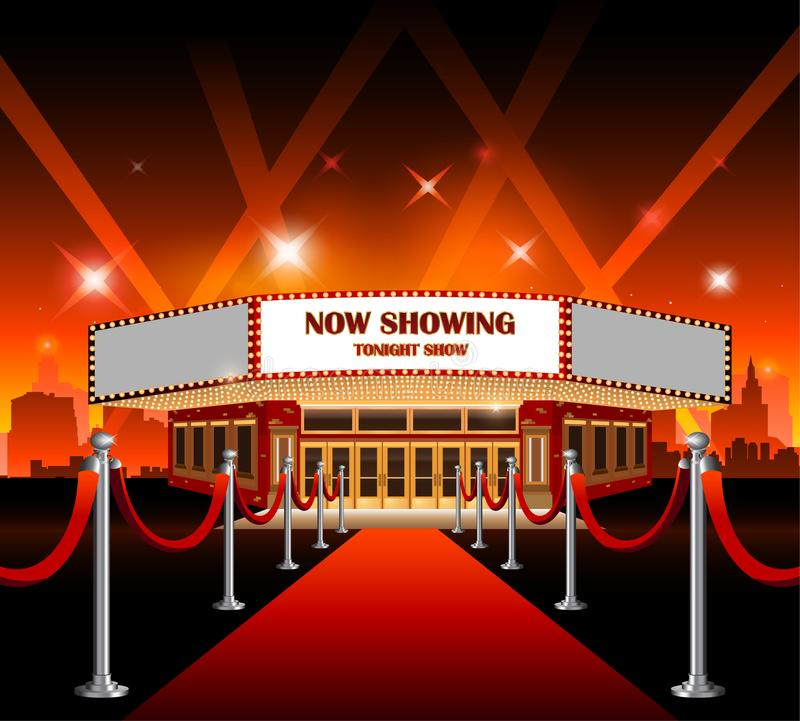 hollywood movie red carpet movie theater stock vector