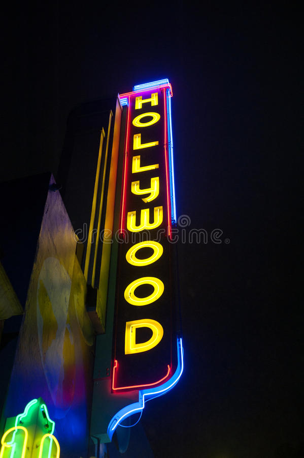 Hollywood neon sign. Neon Hollywood sign in the Hollywood district of Los Angeles, California royalty free stock photography