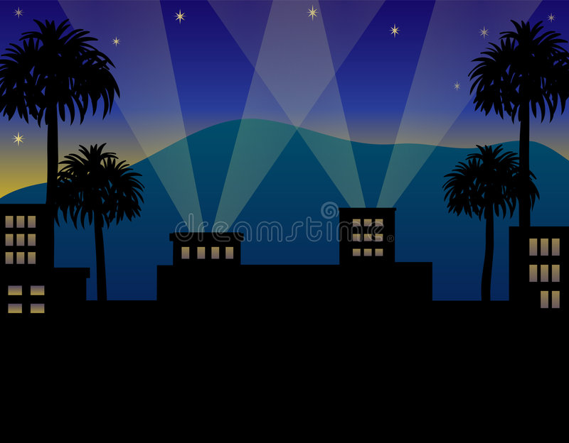 Download Hollywood Night stock illustration. Image of horizontal - 6358709