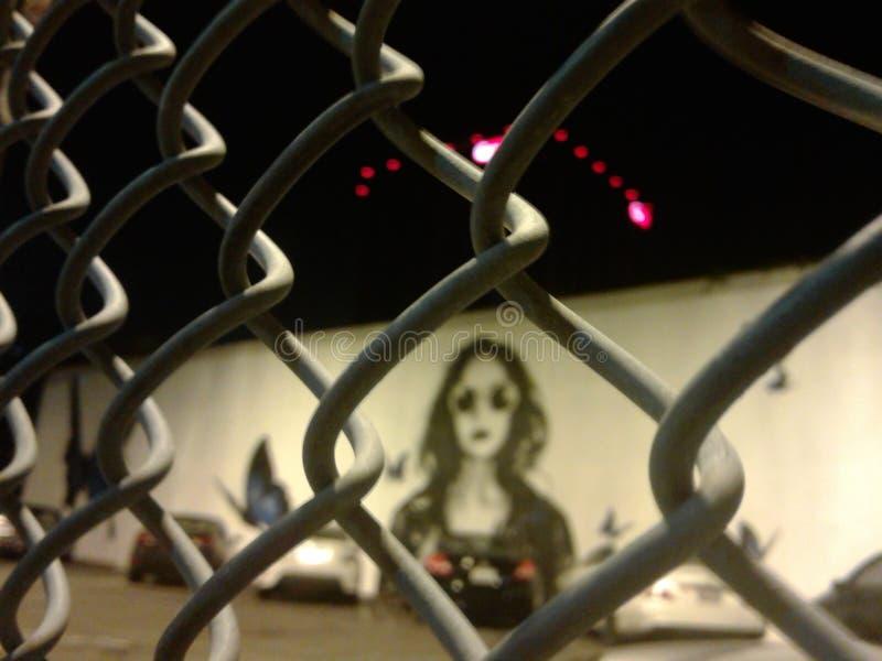 Hollywood nocy życia ogrodzenia graffiti obrazy royalty free