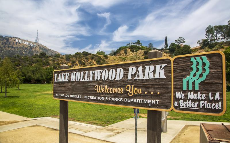 Hollywood Park λιμνών, σημάδι Hollywood, Hollywood, Λος Άντζελες, Καλιφόρνια, Ηνωμένες Πολιτείες της Αμερικής, Βόρεια Αμερική στοκ φωτογραφίες με δικαίωμα ελεύθερης χρήσης