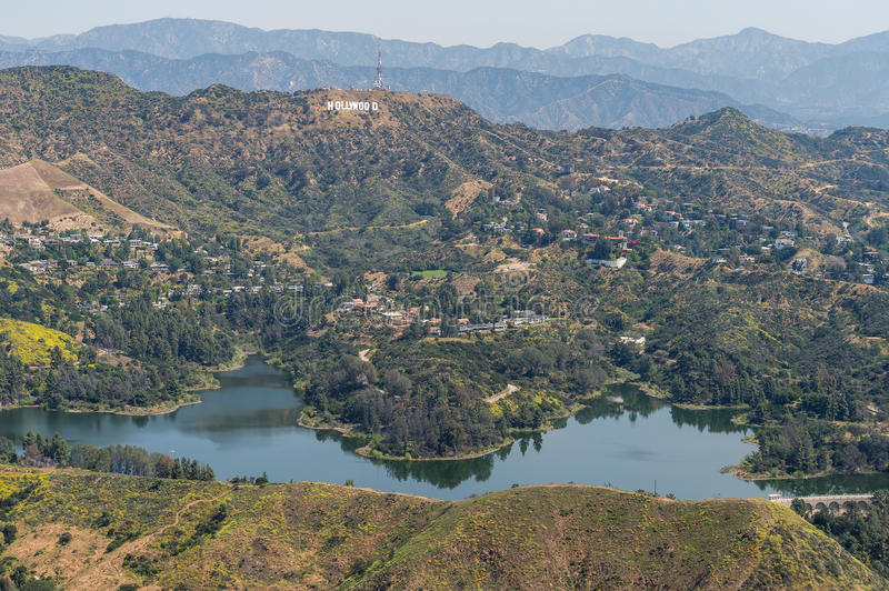 Hollywood Reservoir and Hollywood sign aerial view. The reservoir sits in the Hollywood Hills and has served as a popular location for many television shows and stock images