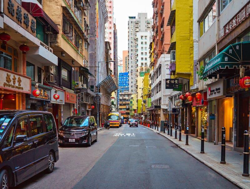 Hollywood Road, Hong Kong - November 19, 2015: Hollywood Road is the first road royalty free stock images