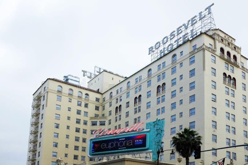 Hollywood Roosevelt hotel na Hollywood bulwarze otwierającym w Maju 1927, i jest starym nieustannie działa hotelem w Los zdjęcie royalty free