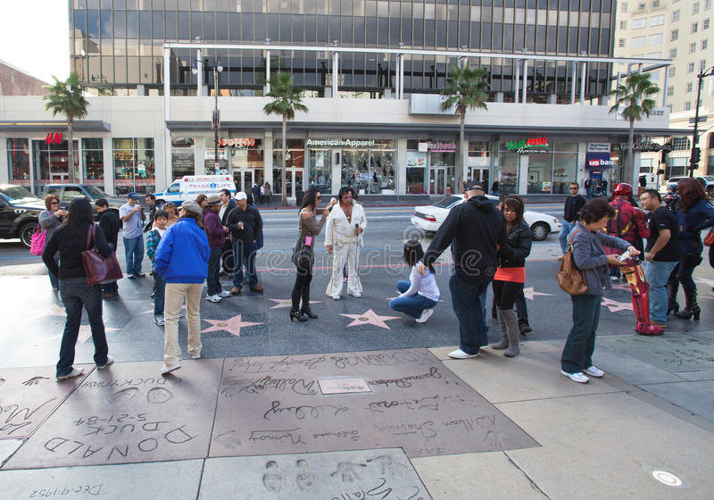 Hollywood's Walk of Fame Footprints stock photo