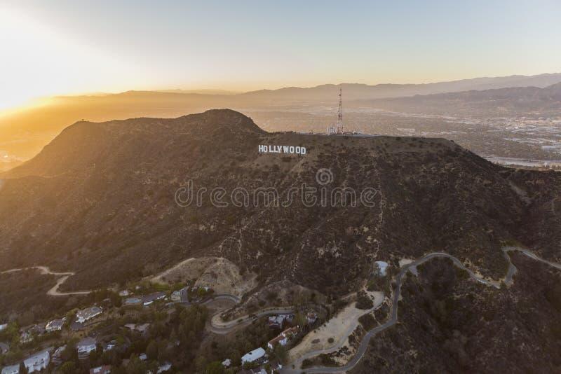 Hollywood-Schriftzug Griffith Park Los Angeles Sunset lizenzfreie stockbilder