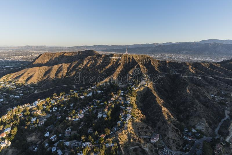 Hollywood Sign Griffith Park Morning Aerial View stock photography