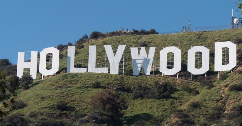 Hollywood sign in the hills of Hollywood - CALIFORNIA, USA - MARCH 18, 2019. Hollywood sign in the hills of Hollywood - CALIFORNIA, UNITED STATES - MARCH 18 stock photography