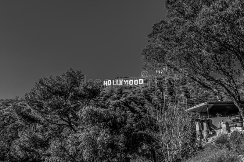 Hollywood sign in the hills of Hollywood - CALIFORNIA, USA - MARCH 18, 2019. Hollywood sign in the hills of Hollywood - CALIFORNIA, UNITED STATES - MARCH 18 royalty free stock photography