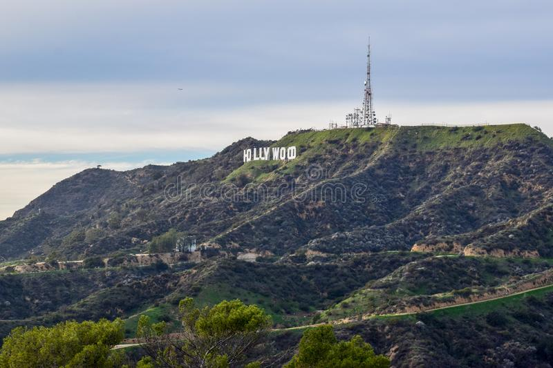 Hollywood Sign seen from Mount Hollywood at Sunset royalty free stock photography