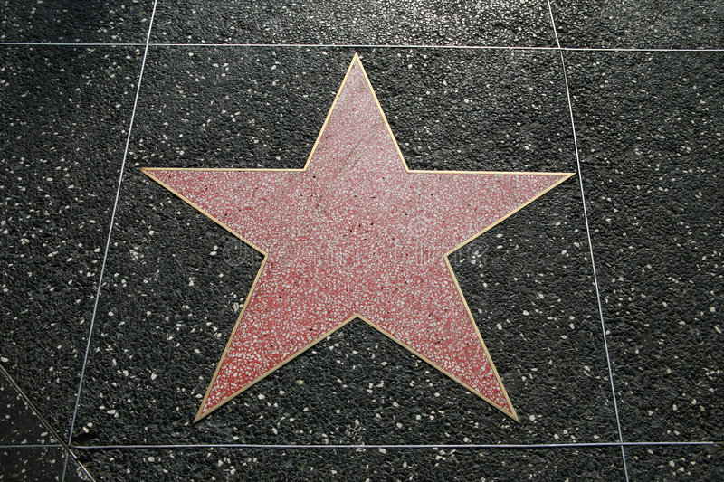 Hollywood star. Empty star on the Hollywood Walk Of Fame, California, USA stock image