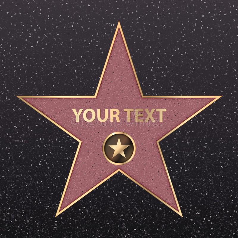 Hollywood-Star auf Promiruhm des Wegboulevards Vektorsymbolsternfilmdarstellergoldhollywood-star-Kamerazeichen stock abbildung