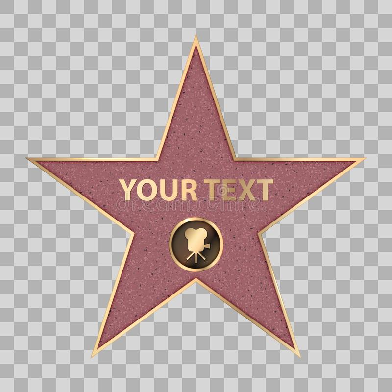 Hollywood star celebrity fame walk vector. Hollywood star on celebrity fame of walk boukevard. Vector symbol star for iconic movie actor or famous actress vector illustration