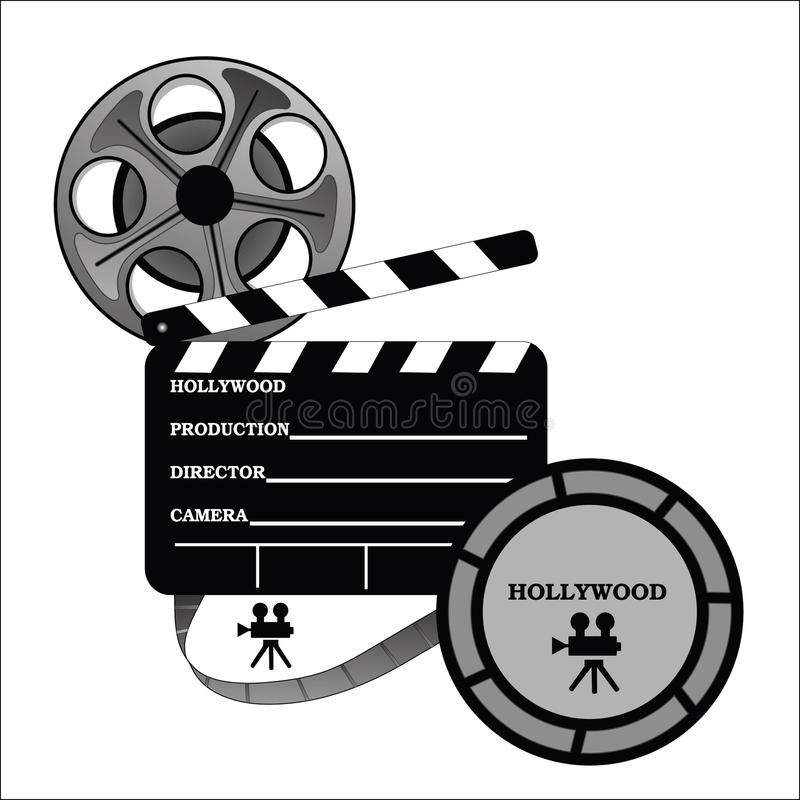 Hollywood Take One Production. With film reel and canister royalty free illustration