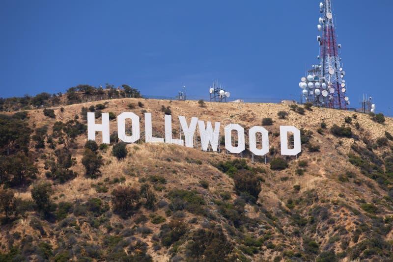 Hollywood undertecknar på kullen royaltyfria bilder