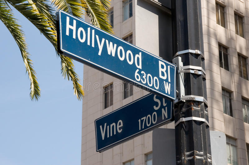 Hollywood and Vine street sign stock images
