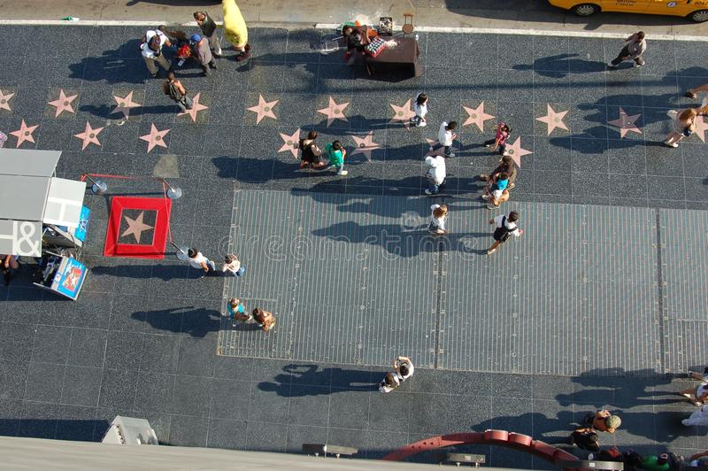 Hollywood Walk Of Fame from a balcony stock images