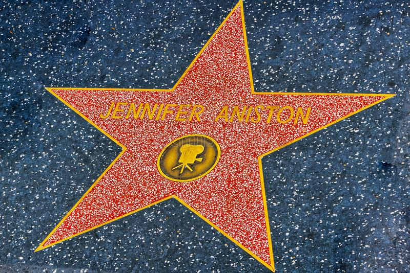Hollywood Walk of Fame in Hollywood Boulevard.Jennifeer Aniston. Los Angelos, California, USA - September 05, 2018: Hollywood Walk of Fame in Hollywood Boulevard royalty free stock images
