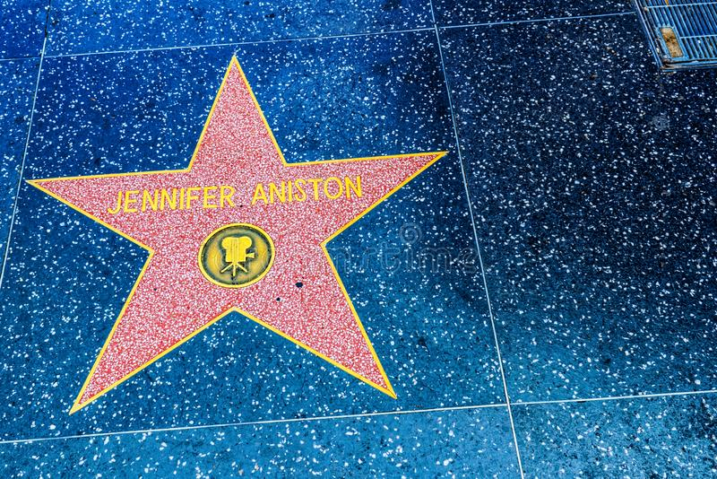 Hollywood Walk of Fame in Hollywood Boulevard.Jennifeer Aniston. Los Angelos, California, USA - September 05, 2018: Hollywood Walk of Fame in Hollywood Boulevard stock photography