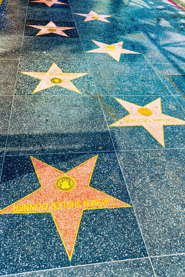 Hollywood Walk of Fame in Hollywood Boulevard. Los Angelos, California, USA - September 05, 2018: Hollywood Walk of Fame in Hollywood Boulevard royalty free stock photography