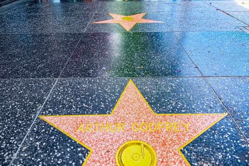 Hollywood Walk of Fame in Hollywood Boulevard. Los Angelos, California, USA - September 05, 2018: Hollywood Walk of Fame in Hollywood Boulevard stock image