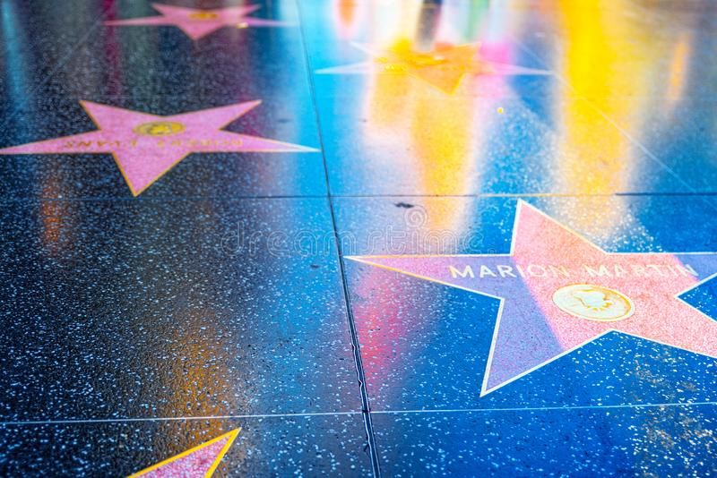 Hollywood Walk of Fame in Hollywood Boulevard. Los Angelos, California, USA - September 05, 2018: Hollywood Walk of Fame in Hollywood Boulevard. Marion Martin royalty free stock images