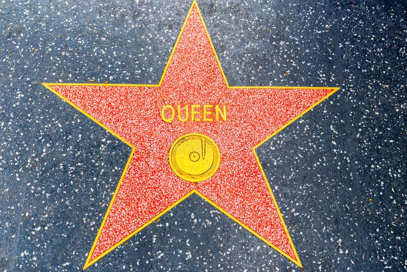 Hollywood Walk of Fame in Hollywood Boulevard. Los Angelos, California, USA - September 05, 2018: Hollywood Walk of Fame in Hollywood Boulevard. Queen stock photo