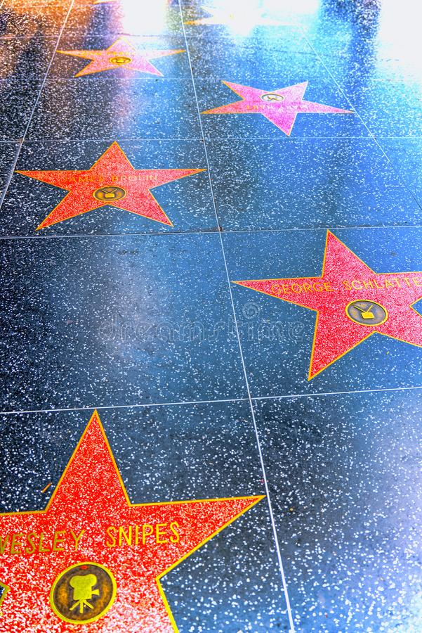 Hollywood Walk of Fame in Hollywood Boulevard royalty free stock photography