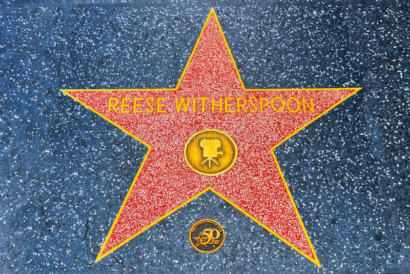 Hollywood Walk of Fame in Hollywood Boulevard.Reese Witherspoon stock images