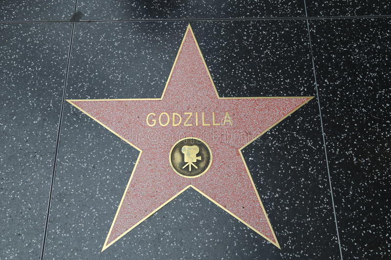 Hollywood Walk of Fame - Godzilla. The Hollywood Walk of Fame comprises more than 2,500 five-pointed terrazzo and brass stars embedded in the sidewalks along 15 stock photography