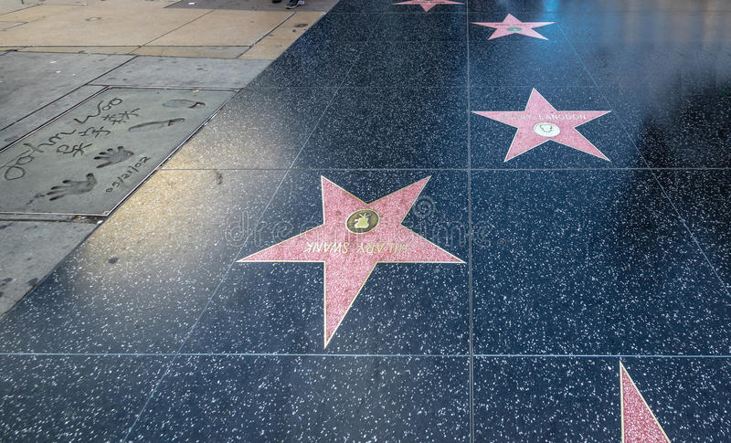 The Hollywood Walk of Fame in Hollywood Boulevard - Los Angeles, California, USA royalty free stock photo