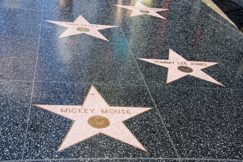 Hollywood Walk of Fame Mickey Mouse. LA Hollywood Walk of Fame stock photos