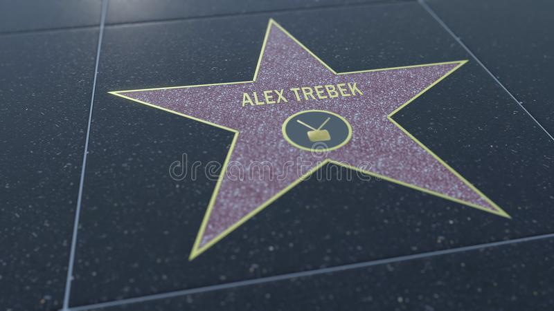Hollywood Walk of Fame star with ALEX TREBEK inscription. Editorial 3D rendering stock illustration